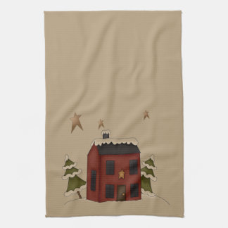 Primitive Red Colonial in the Snow Tea Towel