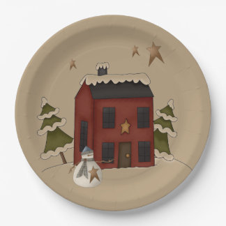 Primitive Red Colonial With Snowman Paper Plate