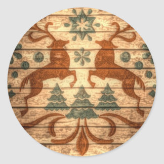 Primitive Reindeer Snowflakes Nordic christmas Classic Round Sticker