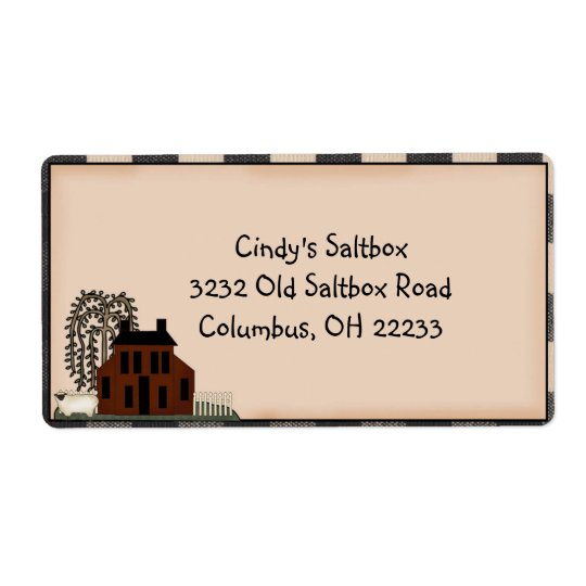 Primitive Saltbox Country Label Shipping Label