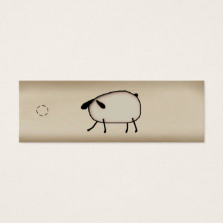 Primitive Sheep Skinny Hang Tag Mini Business Card