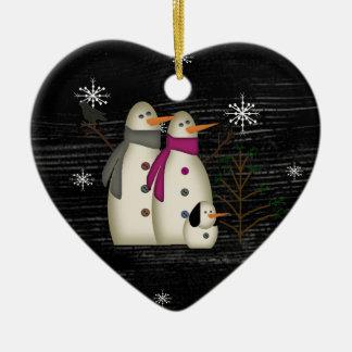 Primitive Snow Couple Ornament