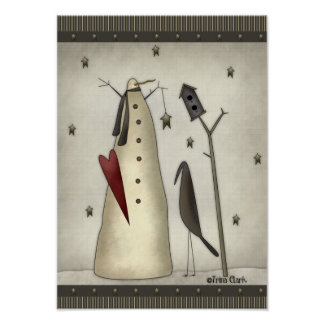 Primitive Snowman, Birdhouse, Crow Print