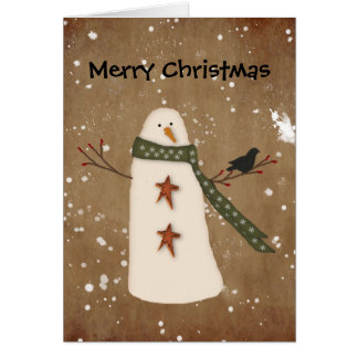 Primitive Snowman Christmas Card