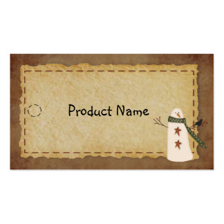 Primitive Snowman Hang Tag Pack Of Standard Business Cards