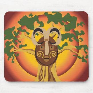 Primitive Tribal Mask on Balboa Tree Glowing Sun Mouse Pad