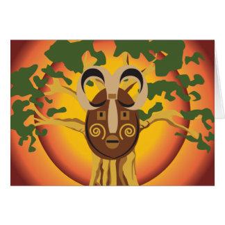 Primitive Tribal Mask on Balboa Tree Glowing Sun Note Card