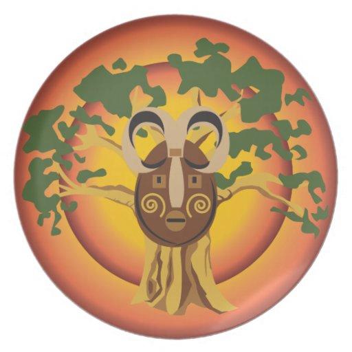 Primitive Tribal Mask on Balboa Tree Glowing Sun Dinner Plate