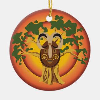 Primitive Tribal Mask on Balboa Tree Glowing Sun Round Ceramic Decoration