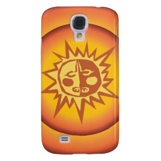 Primitive Tribal Sun Design Red Orange Glow Galaxy S4 Covers
