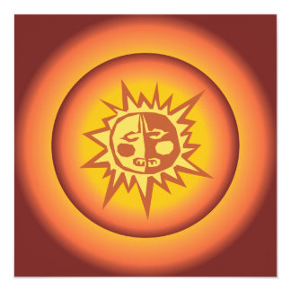 "Primitive Tribal Sun Design Red Orange Glow 5.25"" Square Invitation Card"