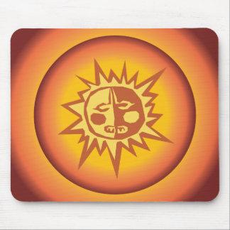 Primitive Tribal Sun Design Red Orange Glow Mouse Pad