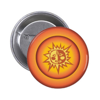 Primitive Tribal Sun Design Red Orange Glow Pin
