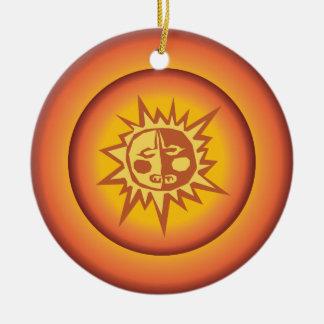 Primitive Tribal Sun Design Red Orange Glow Round Ceramic Decoration
