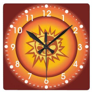 Primitive Tribal Sun Design Red Orange Glow Square Wall Clock