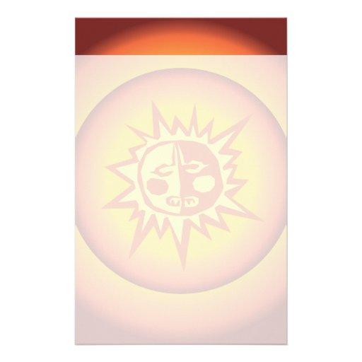 Primitive Tribal Sun Design Red Orange Glow Stationery Paper