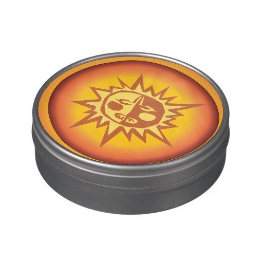 Primitive Tribal Sun Design Red Orange Glow Jelly Belly Tins