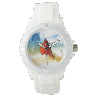 Primitive western country christmas red cardinal watch