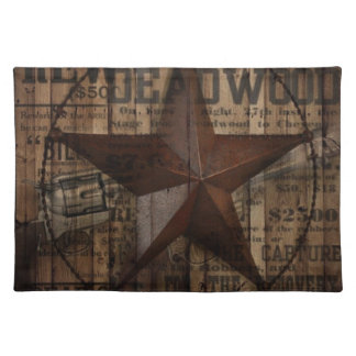 primitive wild western country Texas Lone Star Placemat