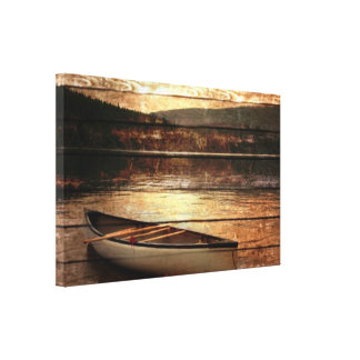 Primitive Wood grain reflection Lake House Canoe Canvas Print