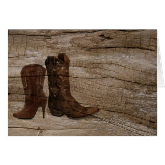 Primitive Wood grain Western country cowboy boots Card