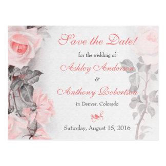 Primose Pink Rose Wedding Save the Date Postcard