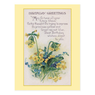 Primrose and Forget-Me-Not Vintage Birthday Postcard