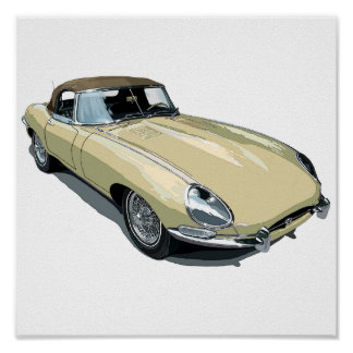 Primrose E Type Roadster Poster
