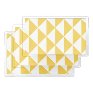 Primrose Yellow with White Coastal Geometric Arrow Acrylic Tray