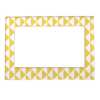 Primrose Yellow with White Coastal Geometric Arrow Magnetic Frame