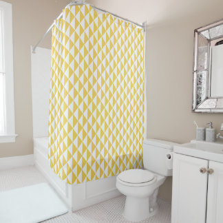 Primrose Yellow with White Coastal Geometric Arrow Shower Curtain