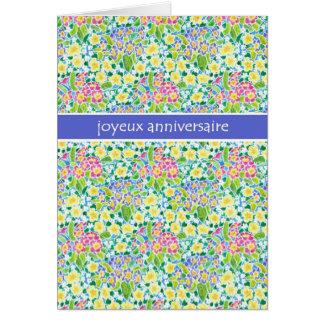 Primroses Birthday Card, French Greeting Card