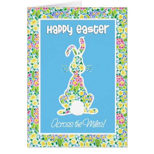 Primroses Cute Bunny Easter Across the Miles Card