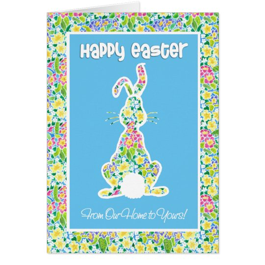 Primroses Cute Bunny Easter Our Home to Yours Card