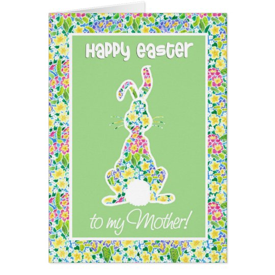 Primroses Cute Bunny Rabbit Easter Card for Mother