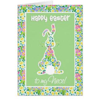 Primroses Cute Bunny Rabbit Easter Card for Niece