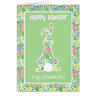 Primroses Cute Bunny Rabbit Easter for Grandmother Card