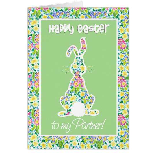 Primroses Cute Bunny Rabbit Easter, for Partner Card