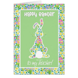 Primroses Cute Bunny Rabbit Easter for Teacher Card
