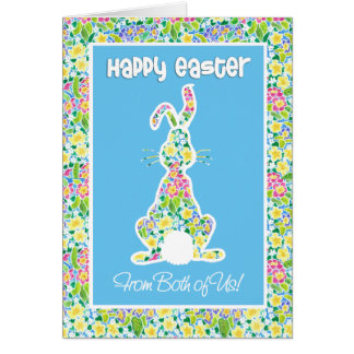 Primroses Cute Bunny Rabbit Easter From Both of Us Card