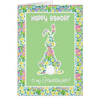 Primroses Cute Bunny Rabbit Easter, Granddaughter Card