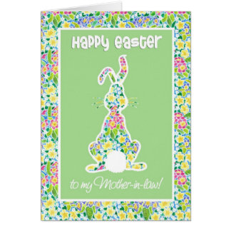 Primroses Cute Bunny Rabbit Easter Mother-in-law Card