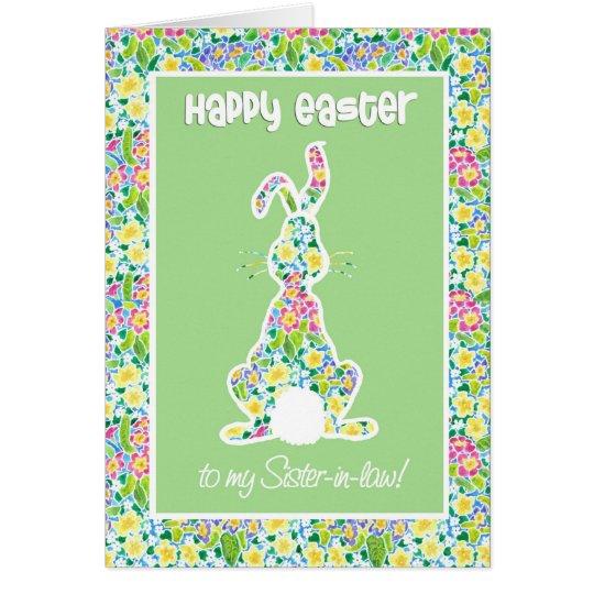 Primroses Cute Bunny Rabbit Easter, Sister-in-law Card