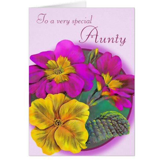 Primula Aunty floral pink purple birthday card