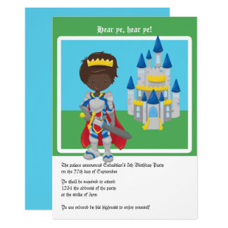 Prince And Castle Birthday Party (Dark Skinned) Card