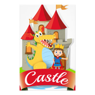 Prince and dragon at the castle custom stationery