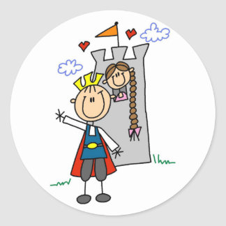 Prince and Girl in Tower Tshirts and Gifts Sticker