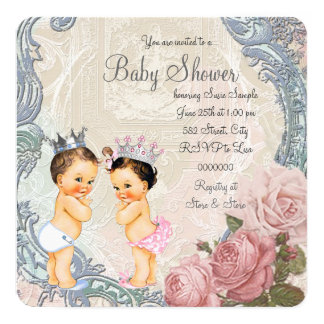 Prince and Princess Twin Baby Shower Card