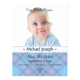 Prince Baby Blue Boy Plaid Birth Announcement Postcard