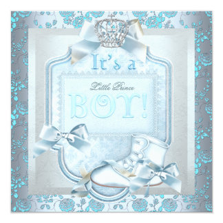 "Prince Baby Shower Baby Boy Blue Damask Rose Shoe 5.25"" Square Invitation Card"